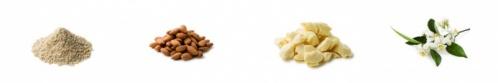 オート麦浸出エキス(カラスムギ穀粒エキス)、アーモンドオイル、カカオバター、オレンジフラワーウォーターなど、保湿効果が高く潤いをもたらす天然成分を豊富に配合