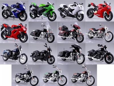アオシマの販売する1/12完成品バイクシリーズに、計15台が一挙に新登場です