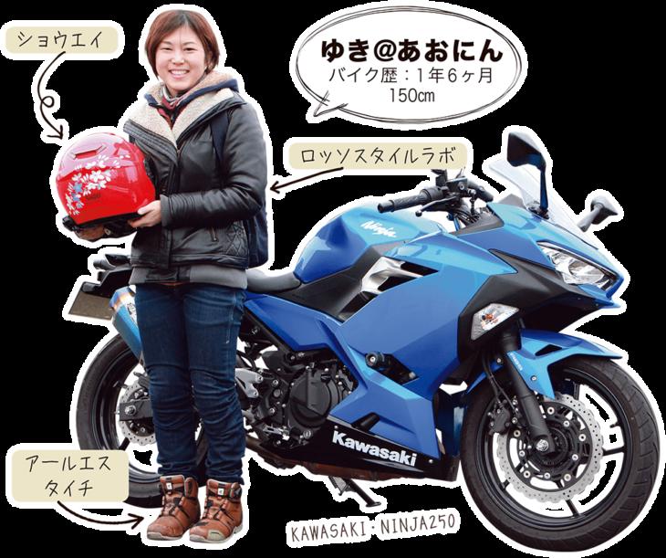 ゆき@あおにん & KAWASAKI NINJA250