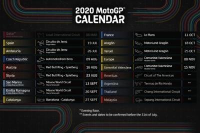 2020MotoGPのシーズンスケジュール改訂版が発表