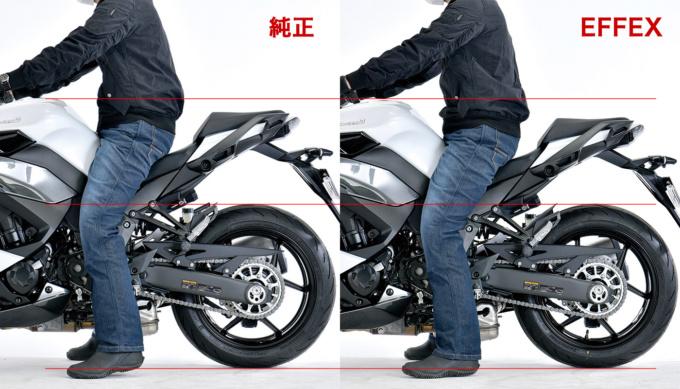 Ninja 1000SX 20 EFFEXローダウンキット 足着き比較