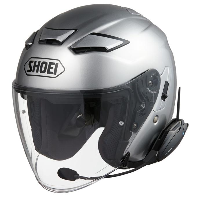 SHOEI J-CRUSE ⅡにB+COM ヘルメットアタッチメントを使用して装着したB+COM SB6X