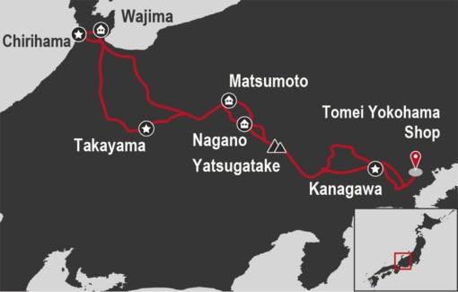 MOTO TOURS JAPANはGO Toトラベルキャンペーン ガイド付きツアー 昇龍道ツアーMAP