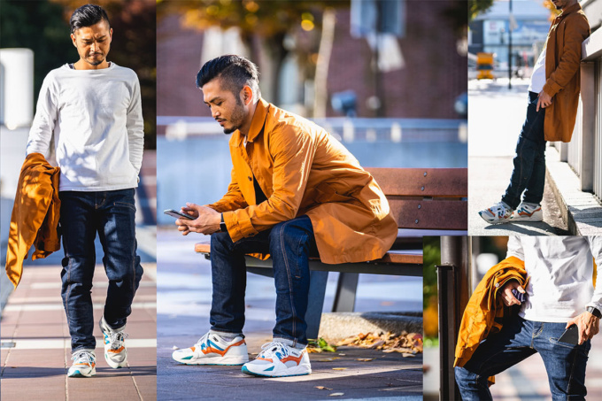 BLUE MONSTER CLOTHINGのクラウドファンディングプロジェクト「ライダー専用デニムウェア」を普段着づかいしたイメージ